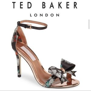 TED BAKER LONDON BLACK SATIN NARNIA BOWDALP HEELS